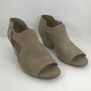 Natural soul open toe taupe bootie